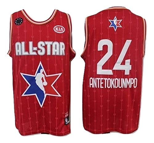 WOLFIRE SC Camiseta de Baloncesto para Hombre, NBA, Milwaukee Bucks #34 Giannis Antetokounmpo. Bordado, Transpirable y Resistente al Desgaste Camiseta para Fan (All- Star 2020, XL)