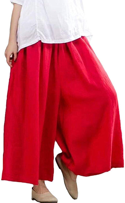 Oudan Women's Linen Casual Trousers Elastic Waist Wide Leg Pants (color   Red)