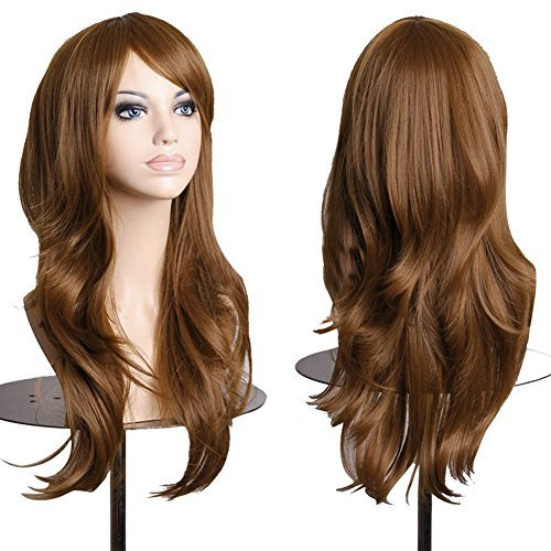 S-noilite 23 58cm Long Layer Wavy Full Wigs Light Brown Synthetic Hair Curly Anime Wig Cosplay Party Heat Resistant by S-noilite