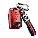 BENBENXIONG para VW Key Cover Premium Soft TPU Leather Key Fob Cover Holder Protector para Volkswagen VW Landbeat Passat Tiguan Jetta Polo Bora New Sutton Keyring Remote Key Fob Azul A Rojo