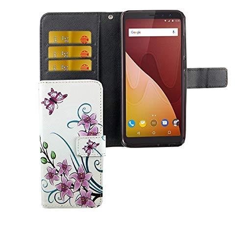 König Design Handyhülle Kompatibel mit Wiko View Handytasche Schutzhülle Tasche Flip Hülle mit Kreditkartenfächern - Lotusblume Pink Weiß