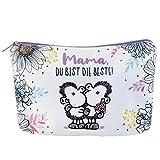 Sheepworld 46292 Kosmetiktäschchen Mama du bist die Beste, mit lila Reißverschluss und Innenfutter, 20 cm x 13,5 cm Mäppchen, Mehrfarbig