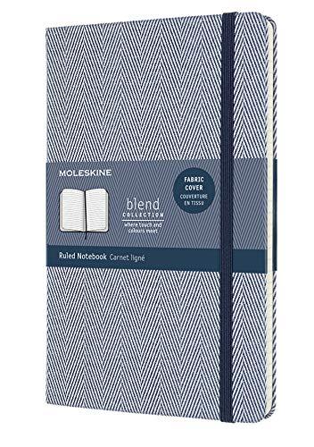 Moleskine Blend Kollektion Notizbuch, Linierte Seiten, mit Stoffhülle und elastischem Verschluss, Größe 13 x 21 cm, Fischgrätenmuster, Farbe blau, 240 Seiten