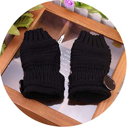 Small-shop-gloves Gants Unisexes en Tricot pour Homme et Femme, Femme, Noir, Taille Unique