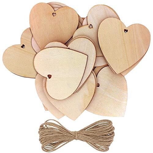 Kurtzy 50-er Pack Holzherzen mit 10m Jute Schnur - 10x10cm Streudeko Set Holz Herzen Unbehandelt mit Loch zum Beschriften – Holzherz Deko für Hochzeit, Party, Jubiläum, Geschenkanhänger, zum Basteln