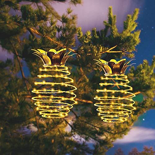 Moonvvin Solarleuchten zum Aufhängen, Set mit 2 Ananas-Laternen für Partys, Eisen, für Urlaub, Hochzeit, Geburtstag, Dekoration
