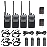 Retevis RB17 Walkie Talkies 4400mAh Long Range,Two Way Radio Rechargeable,FRS 16 CH Emergency Alarm VOX Hands Free,2 Way Radio with Earpieces,Adults Business Outdoor(4 Pack)