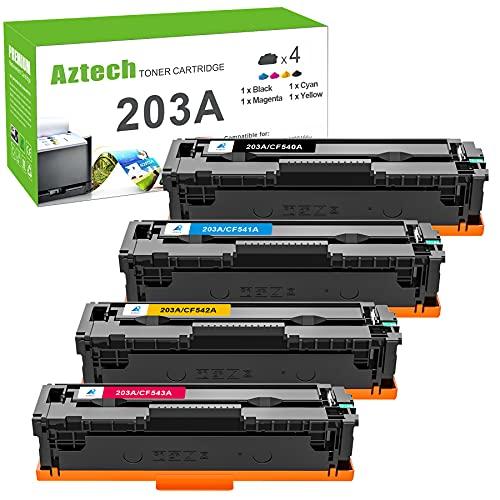 Aztech - Cartucho de tóner compatible para HP 203A CF540A 203X CF540X HP Color Laserjet Pro MFP M281fdw M280nw M254dw M281fdn M281cdw M254nw M254dn 281fdw (negro, cian, amarillo, magenta, 4) -)