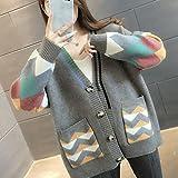 ZXCHB Suéter de otoño de las mujeres otoño, chaqueta de punto femenino femenino femenino y abrigo de suéter de otoño (Color : Gray, Size : S code)