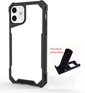Clear cover case for iphone 11/11 pro max with Black frame + small phone holder (iphone 11)