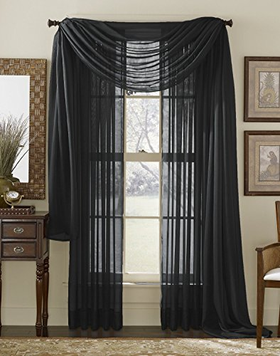 3 Piece Black Sheer Voile Curtain Panel Set: 2 Black Panels and 1 Scarf