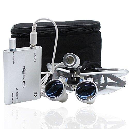 BoNew-Oral Dental Lupenbrille Kopflupe Brillenlupe 3.5x420mm Vergrößerungsglas + Headlight