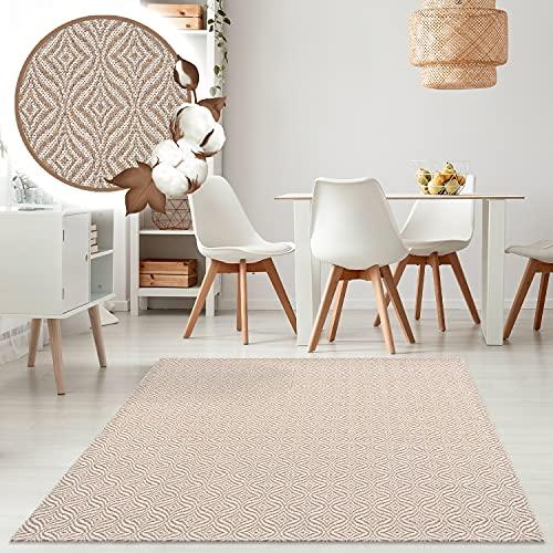 payé Alfombra de salón, alfombra de algodón – Cream 75 x 150...
