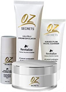 OZ Secrets - Skincare Bundle Kit - Made in Australia - Kakadu Plum Facial Cleanser and Hyaluronic Serum - Lilly Pilly Exfoliator and Renewal Cream - Anti Aging 4 Piece Skin Care System