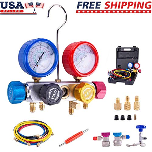 Celiy 4 Way A/C Manifold Gauge Set Fits R134A R410A & R22 with 5 Feet Hose 2 Adapters