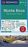 KOMPASS Wanderkarte Monte Rosa, Valle Anzasca, Valsesia: 4in1 Wanderkarte 1:50000 mit Aktiv Guide und Detailkarten inklusive Karte zur offline ... Skitouren. (KOMPASS-Wanderkarten, Band 88)