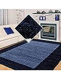 Carpet 1001 Alfombra lanuda, Pelo Largo, Pelo Largo, Alfombra Peluda de salón, Pelo de 2 Colores, Altura 3 cm, Azul Marino - 160x230 cm