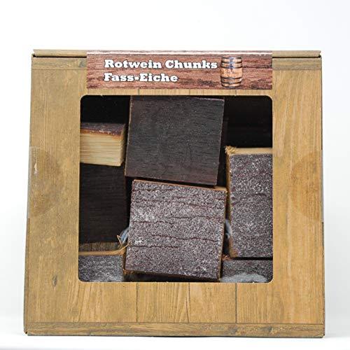 Landree Rotwein Chunks Fass-Eiche, Box 1,5 Kg BBQ Smokerholz vom Original-Faß für das besondere Aroma