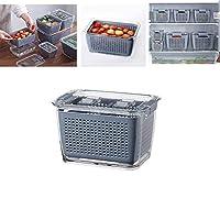 ストレーナーとロッキング蓋付きの新鮮な果物野菜の果物の貯蔵容器、洗浄後の冷蔵庫用の野菜の貯蔵容器 (M)