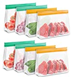 Reusable Snack Bags, 8 Pack Stand-Up Freezer Safe Reusable Sandwich Bags, Extra Thick