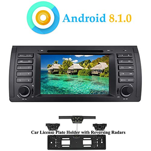 XISEDO Android 8.1.0 In-Dash Car Stereo 7' Quad Core Head Unit Car GPS Navigation with DVD Player for BMW 5-E39/BMW X5-E53 (with UK/EU License Plate Frame)