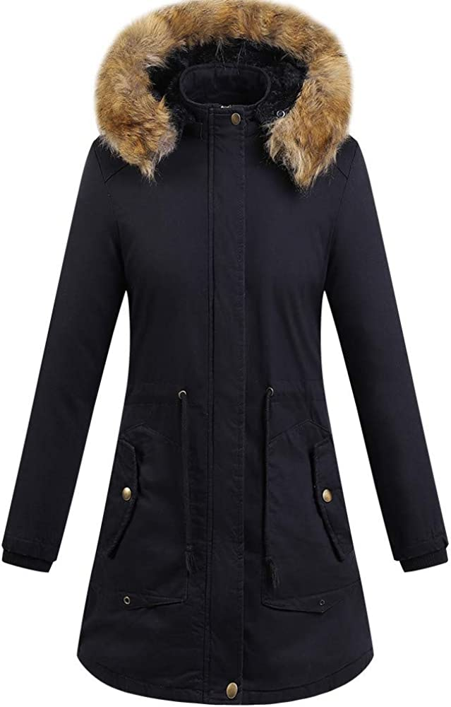 Eduavar Womens Warm Winter Coat Thickened Down Puffer Jacket Outdoor Parka Coats Oversize Fur Hooded Down Outerwear