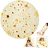 Chicwe Burrito Tortilla Blanket Double Sided, Giant Funny Realistic Food Throw Blanket, 280 GSM Novelty Soft Flannel Taco Blanket 79 inches for Adult and Kids