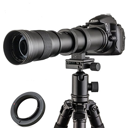 Teleobjetivo manual 420-800 mm F/8.3-16 de marco completo para cámara digital Nikon D7100 D80 D90 D600 D5000 D5100 D3200 D7000 D7200 DSLR con funda de piel, de Jintu
