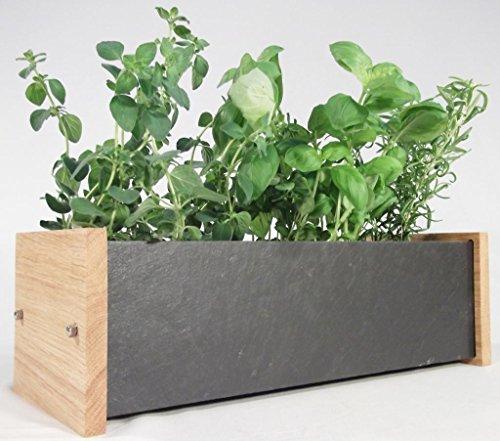 Oak Slate Design Fensterbank-Kräuter- und Pflanztrog, für Innen und Außen, aus Eiche/Schiefer
