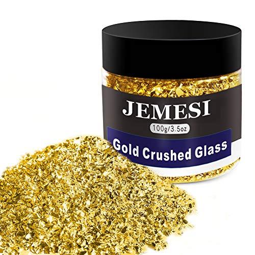 JEMESI 100g Cristal Triturado,2-4mm Cristal Metálico Triturado Reflectante Chips de Cuentas con...