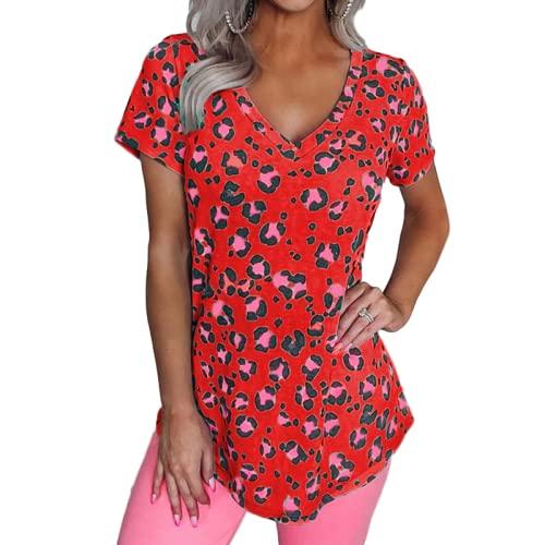 Blusa de Manga Corta Suelta con Cuello en V y Estampado de Moda para Mujer Blusa Informal de Estilo campestre para el hogar XXL