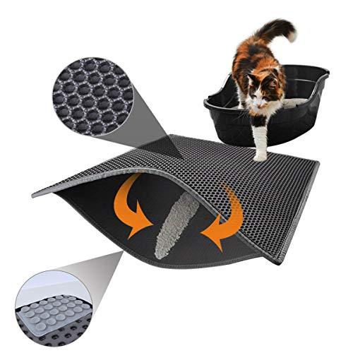 Kittie Doppelschicht Katzenstreumatte Katzenklo-Matte Wasserdichte Katzenklo Vorleger Grau