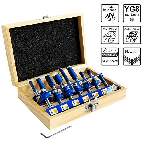 S&R Set di Frese 15 pezzi, HM, codolo 8 mm, in acciaio forgiato. Punte per taglio legno, in scatola di legno