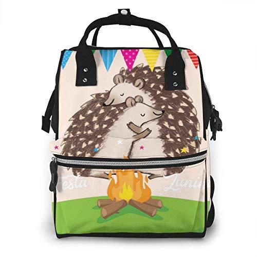 GXGZ Sac à dos à couches imperméable Hedgehog of Hug, compartiment avec deux poches et huit rangements, sacs d'allaitement élégants et durables pour les parents