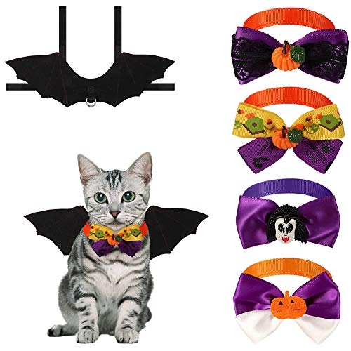 SUI-lim Katze Bat Wings Kostüm, Pet Hund Bat Wings Katze Fledermaus Kostüm, Halloween Katze Kleidung, Haustier Fledermaus Kostüm mit 4 Krawatte(Small)