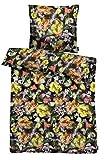 Apelt Juego de Cama, satén, Negro y Multicolor, 135 x 200 x 0.2 cm, 2 Unidades