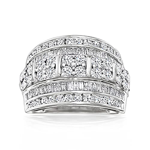 Ross-Simons 2.00 ct. t.w. Baguette and Round Diamond Multi-Row Ring in Sterling Silver. Size 9