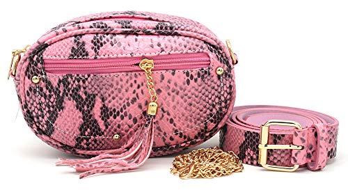 Dielay dames heuptas en schoudertas - slangenhuid imitatie - Belt Bag/Fanny Pack - riem en schouderriem - 20x13x6 cm