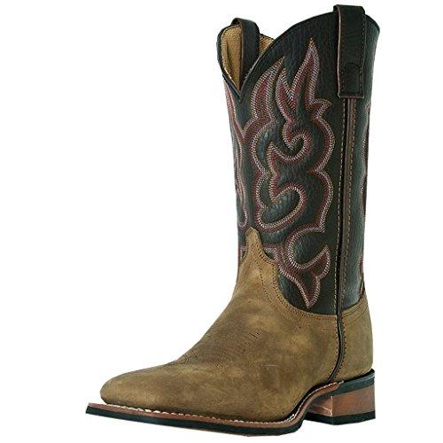 Laredo Mens Lodi Square Toe Roper Western Cowboy Dress Boots Mid Calf - Taupe - Size 10.5 D
