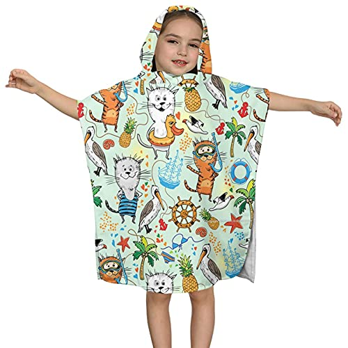 Toalla de baño con capucha para niños, toalla de playa suave, adorable gato de animales florales baño/piscina/playa con capucha, toalla de poncho súper suave, absorbente de 2 a 7 años de edad