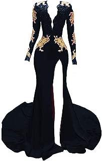 Women's Mermaid Prom Dress Gold Lace Evening Dress Deep Prom Gown