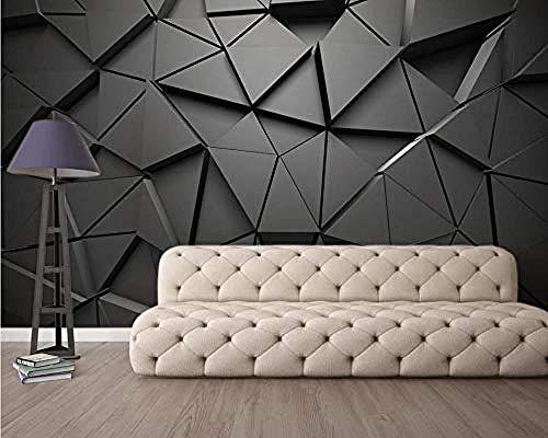 Carta da parati 3D Murales Geometrico Astratto Metallo Triangolo nero Soggiorno Camera da letto Tv Sfondo Decorazione murale Art foto immagine poster -250×175cm(LxA)