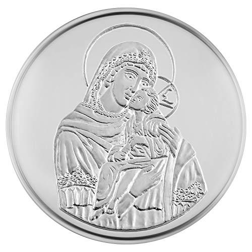 Medalla de plata fina con diseño de Virgen María con el Niño Jesús de regalo religioso, 15,55 g 30 mm