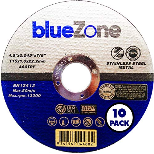 blueZone Pack of 10 x Ultra thin 115 x 1mm for Angle Grinder- Stainless steel cuttings discs - metal cutting slitting discs