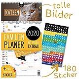 Familienplaner 2020 – KATZEN | 5 Spalten | Wandkalender: 23x43cm | Familienkalender Extras: 180 praktische Sticker, Ferien 2020/21, Pollen-, Obst- & Gemüse-, Jahreskalender, Vorschau bis März 2021