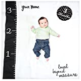 lulujo Personalized Baby's First Year Loved Beyond Measure Black and White Growth Blanket and Month Milestone Cards Set with Name
