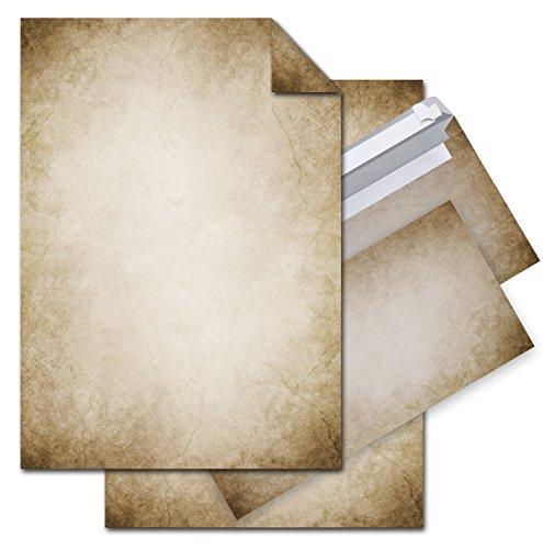 SET 12 Blatt Briefpapier VINTAGE beidseitig bedruckt 100g DIN A4 Brief-Bogen + 10 Stück nostalgie...
