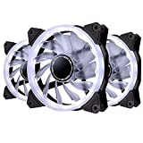 EASYDIY 120mm白色LEDリングファン、静音タイプ 、PCケース用白色LEDケースファン、CPUクーラーおよびラジエータ - 3本1セット(3個白い 3ピン)