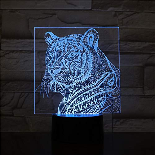 Hlsgmv Tigre De Luz Nocturna Led 3D Con 7 Luces De Color Para Luces De