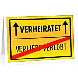 Große Glückwunschkarte zur Hochzeit XXL (A4) Verkehrs-Schild/mit Umschlag/Edle Design Klappkarte/Hochzeitskarte/Glückwunsch/Ehepaar/Extra...
